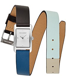Women's Moment Black & Blue Double Wrap Leather Strap Watch 19x30mm