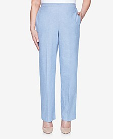 Pull On Back Elastic Chambray Proportioned Pant