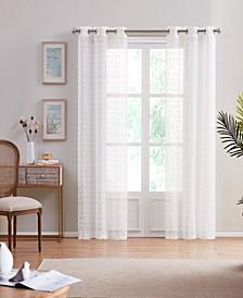 "Cut Flower Linen Look 76"" x 96"" Grommet Panel Window Curtain, Set of 2"