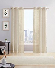"Hannah Linen Look 76"" x 84"" Grommet Panel, Set of 2"