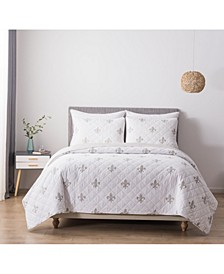 Fleur De Lis Full/Queen Cotton Quilt and Sham Set