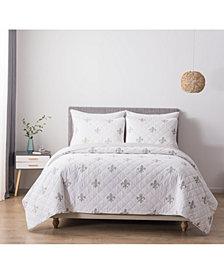 Hedaya Home Fleur De Lis Full/Queen Cotton Quilt and Sham Set