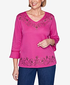 Three Quarter Sleeve Embellished Scroll Yoke and Border Knit Top