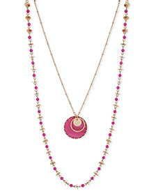 """Gold-Tone Stone Disc & Bead Layered Necklace, 36"""" + 3"""" extender"""