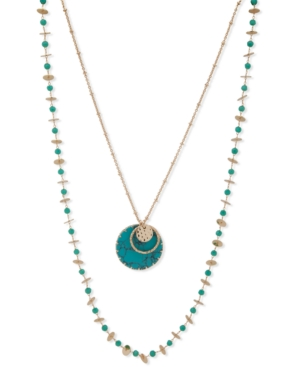 Gold-Tone Stone Disc & Bead Layered Necklace