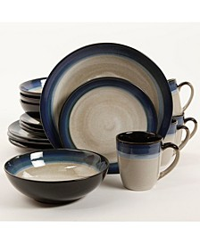 Couture Bands 16-piece Dinnerware Set Blue, Service for 4