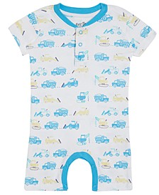 Earth by Baby Boys Corey Truck-Print Organic Cotton Shortall
