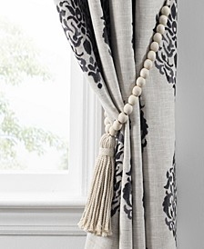 Nomad Decorative Wooden Bead Curtain Tieback With Tassel