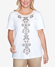 Plus Size Short Sleeve Center Medallion Embroidered Knit Top
