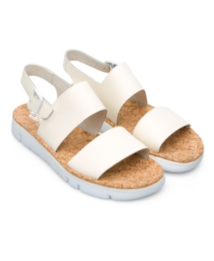 Cream women\\\'s full-grain sandal with Eva outsole and buckle closure. Spanish for \\\