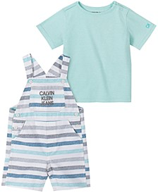 Baby Boys Cotton T-Shirt & Striped Shortalls