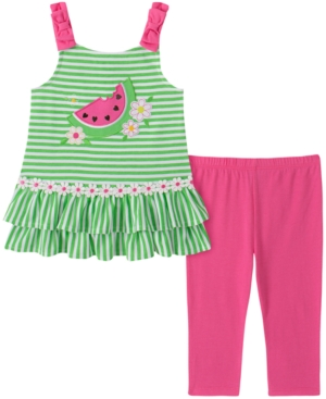 Kids Headquarters Baby Girls 2-Pc. Striped Watermelon Tunic & Leggings Set