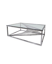 Tiffany Art Deco Glass Top Cocktail Table