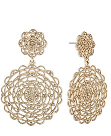 Gold-Tone Pavé Lace Statement Earrings