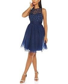 Juniors' Embellished Illusion Fit & Flare Dress