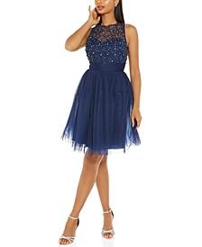 Embellished Illusion Fit & Flare Dress