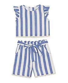 Toddler Girls Linen Top and Short Set