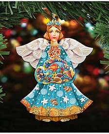 Guardian of The Sea Angel Wooden Christmas Ornament Set of 2