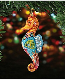 Seahorse Wooden Christmas Ornament Set of 2