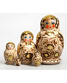 Gold Floral 5 Piece Russian Matryoshka Wooden Nested Dolls Set