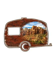 Camper Woodsy Shaped Magnet 2 Wooden Ornaments Set of 2