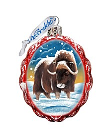 Buffalo Hand Painted Glass Ornament