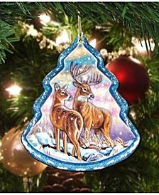 Reindeer Wooden Tree S Wooden Ornaments Set of 2