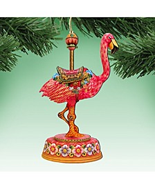 Carousel Flamingo Christmas Wooden Ornament, Set of 2