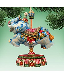 Carousel Elephant Wooden Christmas Ornament, Set of 2