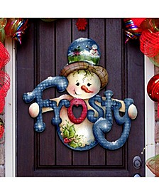 Jamie Mills Price Christmas Frosty Wooden Decorative Door Hanger