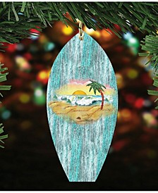 Surfboard Scenic Wooden Christmas Ornament Set of 2