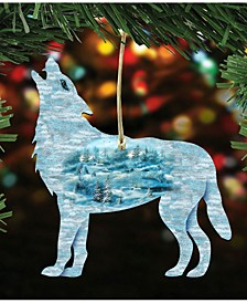 Winter Wolfs Scenic Wooden Christmas Ornament Set of 2