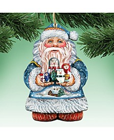 Matreshkas Santa Wooden Christmas Ornament Set of 2