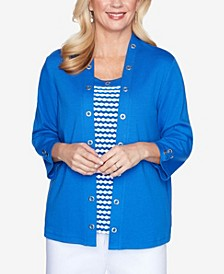 Plus Size Grommet Trim Two-for-One 3/4 Sleeve Knit Top