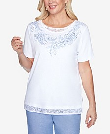 Plus Size Lace Trim Embroidered Paisley Short Sleeve Knit Top