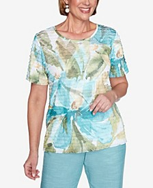 Plus Size Short Sleeve Dramatic Floral Ruffle Knit Top