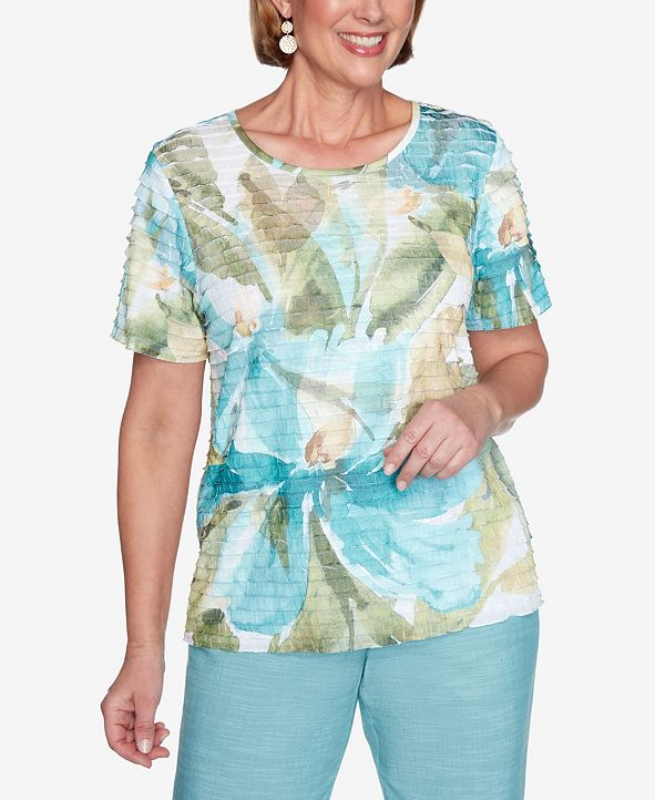 Alfred Dunner Plus Size Short Sleeve Dramatic Floral Ruffle Knit Top