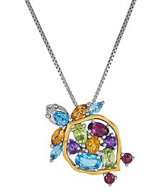 "Multi-Gemstone Two-Tone Turtle 18"" Pendant Necklace (2-1/2 ct. t.w.) in 14k Gold & Sterling Silver"