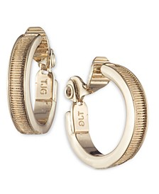 Gold-Tone Small Textured Clip-On Hoop Earrings, 0.69""