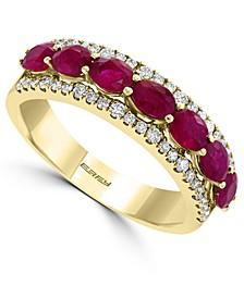 EFFY® Certified Ruby (1-5/8 ct. t.w.) & Diamond (3/8 ct. t.w.) Ring in 14k Gold