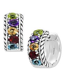 EFFY® Multi-Gemstone Small Huggie Hoop Earrings (1-7/8 ct. t.w.) in Sterling Silver
