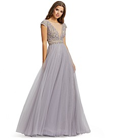 Illusion-Neck Embellished Gown