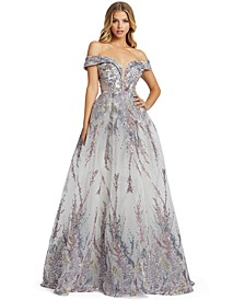 Off-The-Shoulder Embellished Ballgown