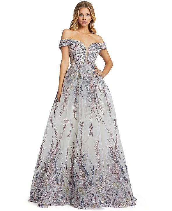 MAC DUGGAL Off-The-Shoulder Embellished Ballgown