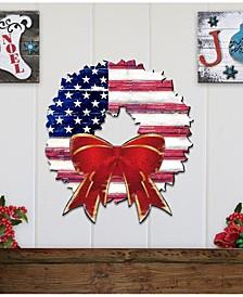 American Flag Wreath Wooden Decor