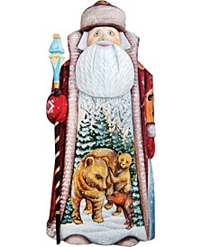 Woodcarved Hand Painted Waking Grizzlies Santa Figurine