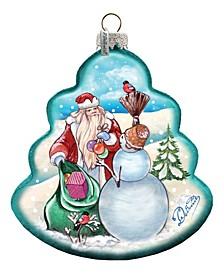 Santa with Snowman Tree Glass Ornament