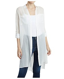 Women's Roll Tab Sleeve Button Front Crossover Back Tunic