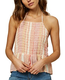 Juniors' Norma Smocked Halter Top