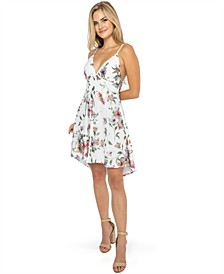Juniors' Floral-Lace A-line Dress